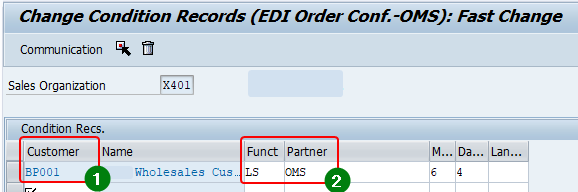 Maintain condition records for output determination under access sequence 0003.