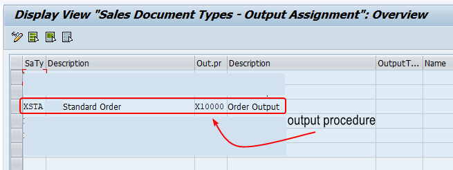 Output Procedure of Sales Document Type in SPRO configuration. Output procedure of