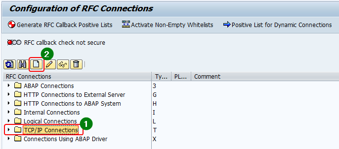 create a new RFC destination in transaction sm59 by selecting the RFC connection type and clicking create.