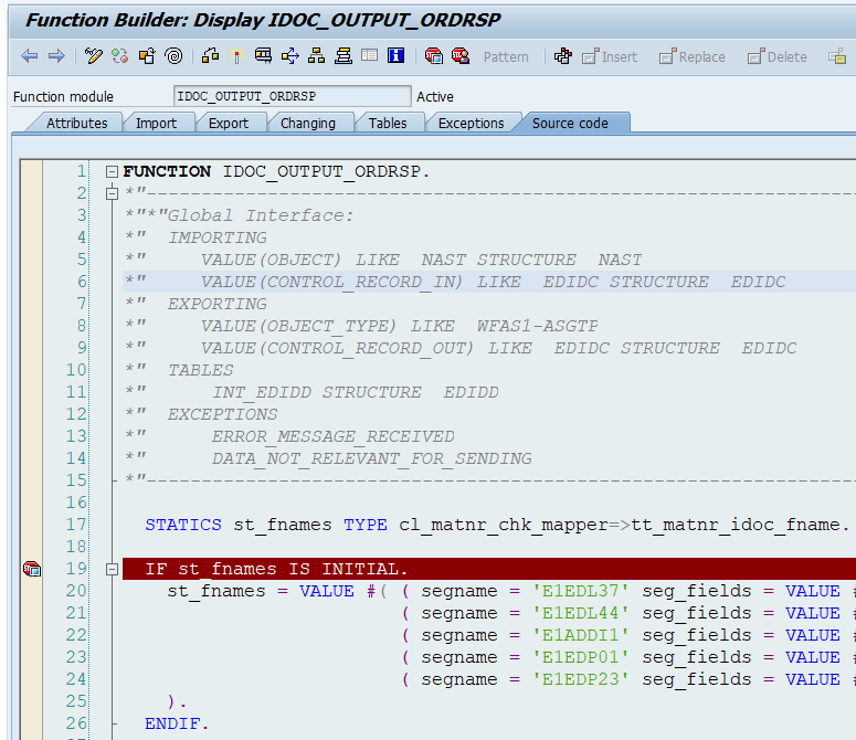 ABAP source code of the iDoc processing FM.