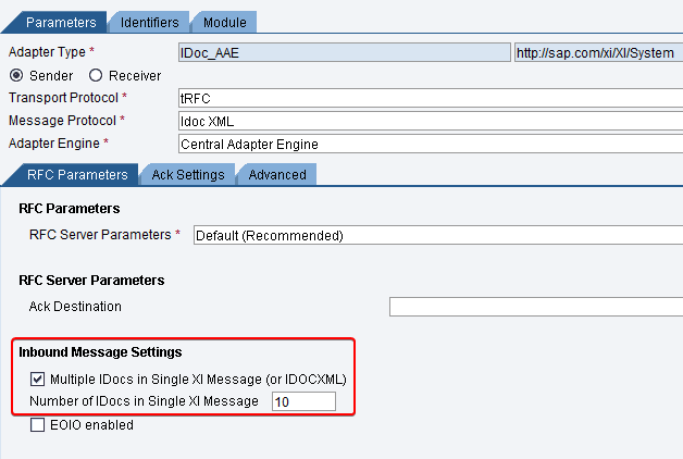 """Sender iDoc_AAE adapter configuration for iDoc Collection. Inbound message settings """"Multiple iDocs in Single XI message"""" configured. transport protocol tRFC, message protocol iDoc XML and adapter type iDoc_aae"""