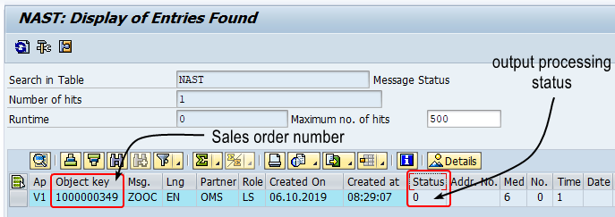 Output stored in NAST table as entry. Processing status is 0 (ready to be processed)