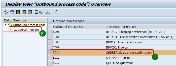 Find the suitable outbound iDoc process code from transaction we42.