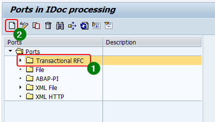 To create a new tRFC port in we21, select the Port type as tRFC and click create