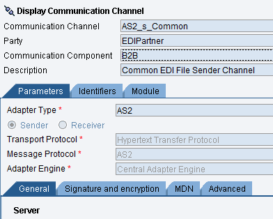 Common EDi sender communication channel configuration for AS2 adapter.
