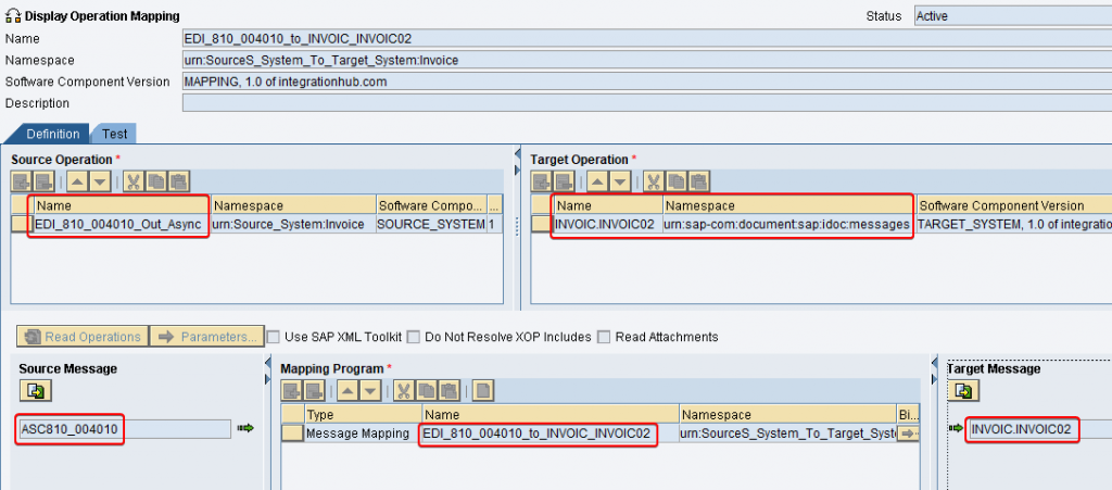 Operation mapping between EDI Separator sender service EDI_810_004010_Out_Async and iDoc reciver INVOIC.INVOIC02.