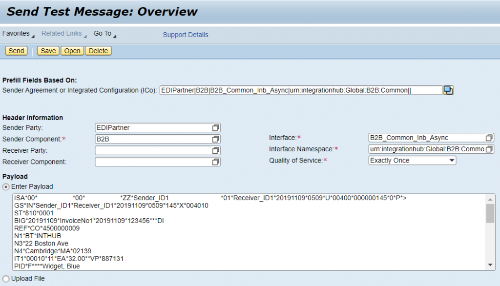 Assign the EDI message to test tool and execute the common EDI iFlow