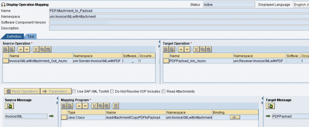 Operation mapping for PDF attachment processing. Message mapping is the java mapping (imported archive) created before. Source message invoice XML and target message PDF payload message type.